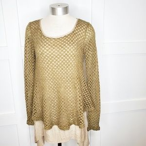 A'reve Antro Blouse Top Keep it Simple Small Tan